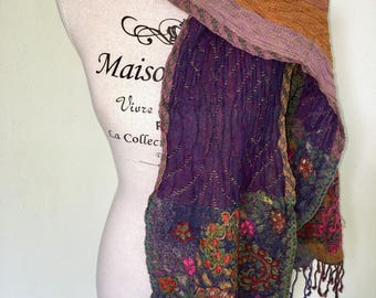 Rich Merino wool ladies' scarf / shawl handmade in India with embroidery. 2-sided wearable. Paisley Dessin