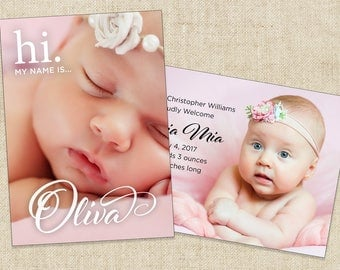 Birth Announcement, Custom Baby Photo Announcement (5x7 - 2 sides) Printable file or Printed Cards.