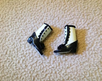 Victorian black and white higtop boots 1/12 scale