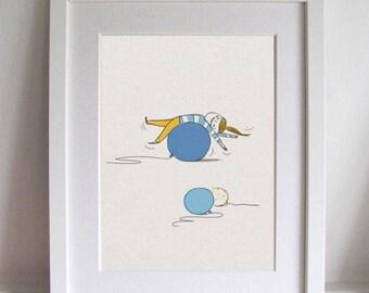 Blue Balloon, Pilates, Girl nursery decor, Baby girl, Babyshower, Balloon nursery wall art, Balloon nursery print