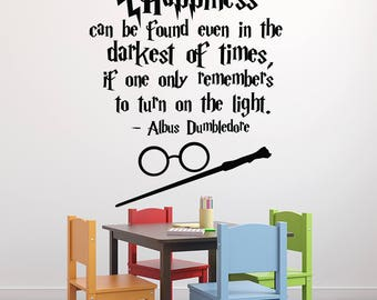 Harry Potter Wall Decal Quote - Happiness Can Be Found Even Albus Dumbledore Quote - Hogwart Wall Decal Vinyl Sticker Kids Art