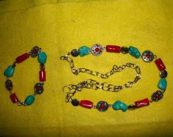 Native American style Necklace and Bracelet Set