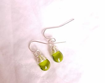 Silver Wire Wrapped Peridot Glass Drop Earrings