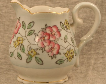 Vintage Floral Pastel Green Creamer with Gold Trim Made in Occupied Japan