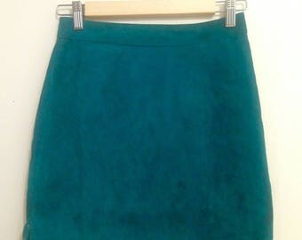 Teal Suede Mini Skirt Size 6