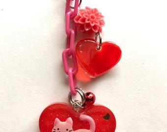 Pink Cat Keychain