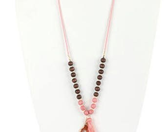 SALE Pink Natural Stone Pendant Tassel Necklace