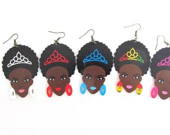 African Woman Wood Earring