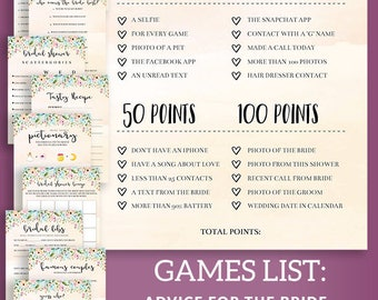 Printable Bridal Shower Games, Editable Bridal Shower Games, PDF Printable Games, Wedding Party Games, Bachelorette Party Games Printables