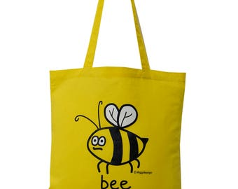 Cute Buzzy BEE yellow cotton Tote Bag