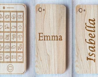 Phone teether, wood phone, geek toy, pretend play, wood teether, natural teether, maple wood, personalized phone teether, kid toys