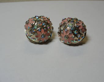 Pink Rhinestone Flower Dome Stud Earrings Vintage 1950s