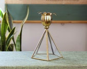 vintage glass terrarium and brass candlestick holder . pentagon shaped glass dome with flower petal brass candle holder, taper size