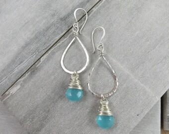 Chalcedony Hoop Earrings