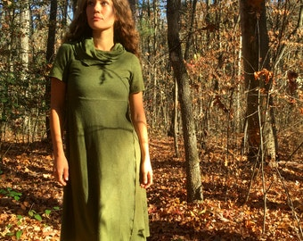 Follow your Heart Below the knee Hooded Dress  in Organic Hemp Jersey (Short sleeves). Made to order.