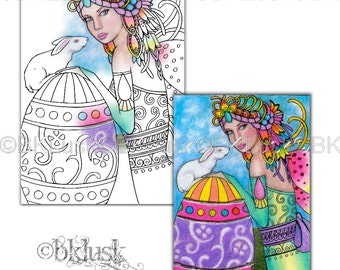 Adult Coloring Page - Gift Of Spring by B. K. Lusk - Digital Download Digistamp - Fairy Rabbit Bunny Easter - Tattoo Flash Scrapbook Craft