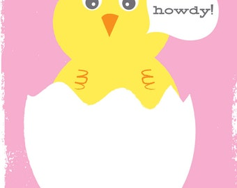 New Baby Girl Greeting Card Stationery - Howdy Baby Chick in Pink, Baby Shower, Full Color Card - Blank Inside