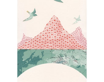 PRINT - Passage / mountain ocean birds map art collage arctic geometry tessellation blue green red thread