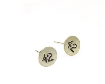 Your Answer to Life the Universe and Everything, small silver stud earrings
