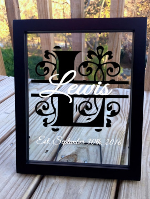 personalized monogram wedding gift last name floating frame. Black Bedroom Furniture Sets. Home Design Ideas