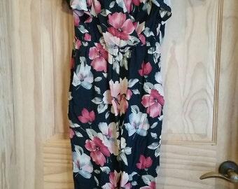 Vintage Floral 80s Ruffled Jumpsuit Romper Pantsuit Size 12