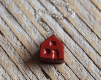 Ceramic Tiny House Necklace with Red Glaze on Sterling Silver Chain