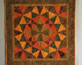 Autumn Glow, Quilted Table Topper or Wall Hanging, Fall Quilt, Autumn Home Decor, Batik Quilt, Kaleidoscope Quilt, Fiber Art Wall Hanging