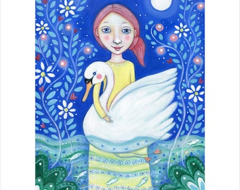 Girl and swan wall art print A3 grace swan picture girl's room art nursery swan art whimsical folk painting swan in water wall decor