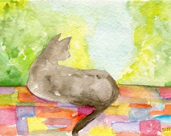 Cat original watercolor painting, Kitty on Quilt in Window  4 x 6