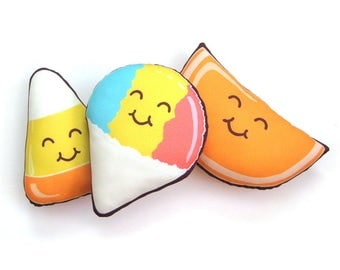 Happy Sweets Plush Pillow: Snow Cone, Candy Corn, or Orange Slice