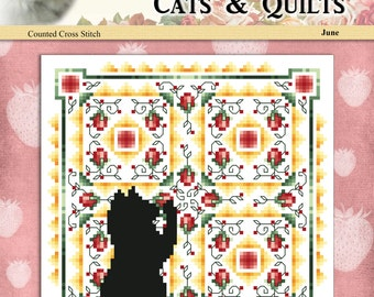 Cats And Quilts June Original Counted Cross Stitch Pattern by Pamela Kellogg