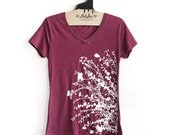 L-  Vintage Dye Cranberry V-Neck Tee with Flowering Branches Screen Print-