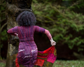 NEW! Gypsy Merlot Shibori Dress L