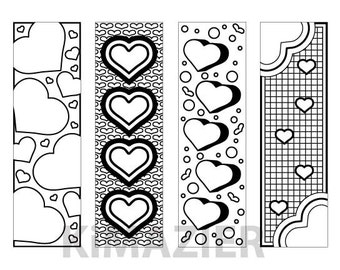 Instant Download Heart Themed Bookmarks to Color