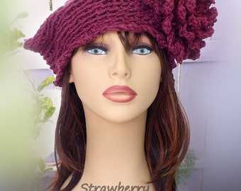 Crochet Cloche Hat 1920s,  Womens Crochet Hat,  Crochet Womens Hat 1920s,  Dark Raspberry Hat,  Eve 1920s Cloche Hat,  Crochet Flower