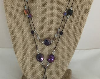 Freshwater Coin Pearl Lariat Plum Color