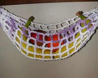 banana hammock fruit hanger holder   purple lilac variegated fruit holder   etsy  rh   etsy