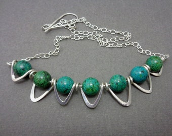 Ready to Ship! African Turquoise and Sterling Silver Zig-Zag Bib Style Statement Art Necklace