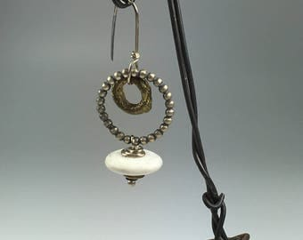 Sterling Silver and Brass Earring with White River Stone