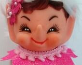 Pink Elf Pixie Christmas Knee hugger kitsch ornament