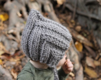Pixie Hat for Baby and Toddler, Hand Knit in Grey Alpaca Blend