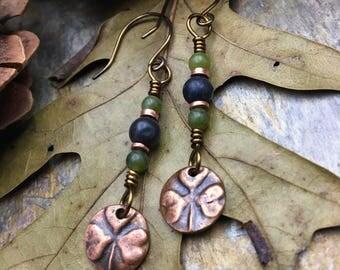 Shamrock Earrings, Copper, Connemara Marble, Irish Shamrock, Clover, Irish Celtic Jewelry, Clover Earrings, Copper Shamrocks, Irish Clover