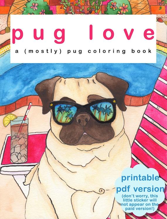 Adult Coloring Book Printable, Printable Coloring Pages, Pug Dog Coloring Book, Coloring For Adults,Coloring Sheet,Coloring Pages for Adults