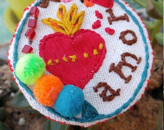 Sacred Heart Embroidery Art Pin