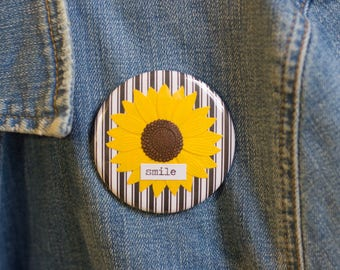 "Cheapie button! ""Smile"" 2.25"" Button With Yellow Sunflower!"