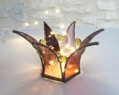Glass Crown Candle Shelter, Stained Glass Crown, Mauve Glass, Tea Light Candle Shelter