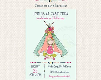 Nature Girl Invitation - Choose Skin & Hair Colour - Glamping invitation, Camping invitation, Boho Birthday invitaton, Bohemian invitation