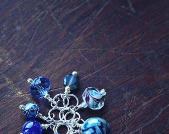 CLEARANCE - Oxygen - Blue & Silver - Knit or Crochet - Stitch Markers or Place Holders (#1, #2) - Set of 8