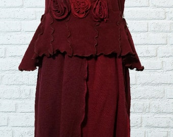 Sale Sweater Dress L/XL Large Lagenlook Red Flower Recycled Wool Eco Friendly Fashion