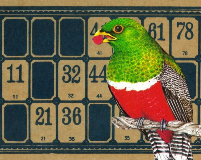 OOAK Bird Collage, Original Art, Altered Lotto Card, Game Room Decoration, Bird Gift, Colorful Bird Art, Colorful Artwork